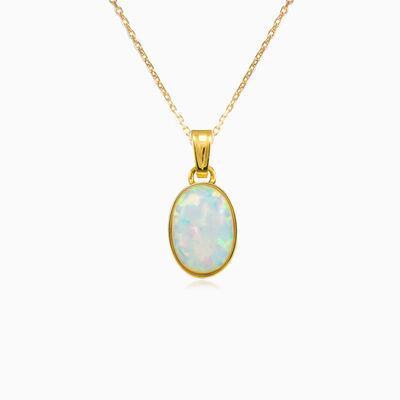 Simple white opal gold pendant woman Pendants Tinge