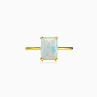 Rectangle white opal gold ring woman Rings Tinge