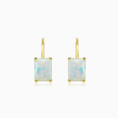 Rectangle white opal gold earrings woman Earrings Tinge