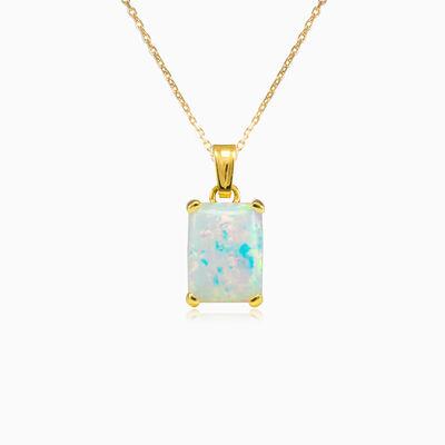 Rectangle white opal gold pendant woman Pendants