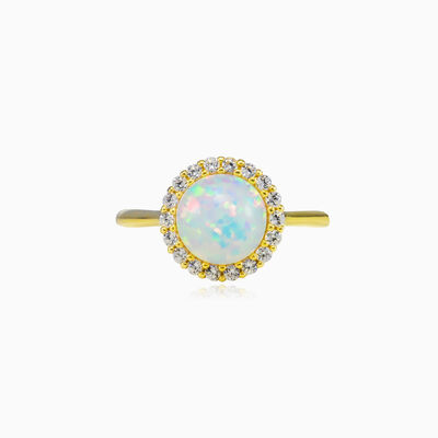 Halo white opal gold ring woman Engagement rings Royal