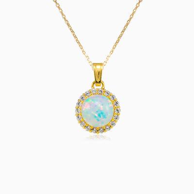 Halo white opal gold pendant woman Pendants Royal