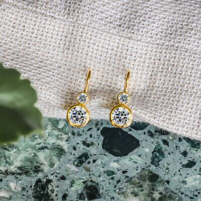 Bezel crystals gold earrings woman Earrings Lustrous