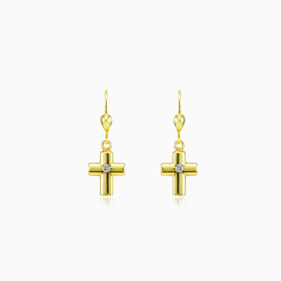 One crystal gold cross earrings unisex Earrings