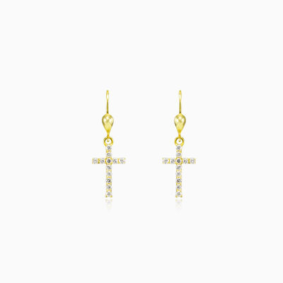 Crystal cross gold earrings unisex Earrings Santa Croce