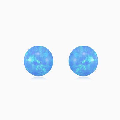 Aretes de ópalo azul con bolas de oro mujer Pendientes Tinge