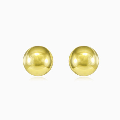 Gelbgoldene Halbkugelknöpfe unisex Ohrringe Lustrous