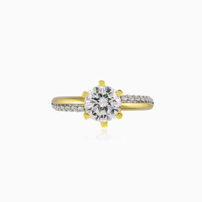 Unique six-prong gold ring woman Engagement rings Lustrous