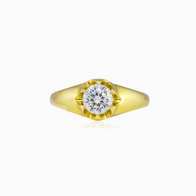 Levitating crystal gold ring unisex Engagement rings Lustrous