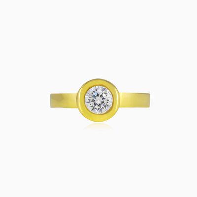 Bezel set crystal gold ring unisex Engagement rings