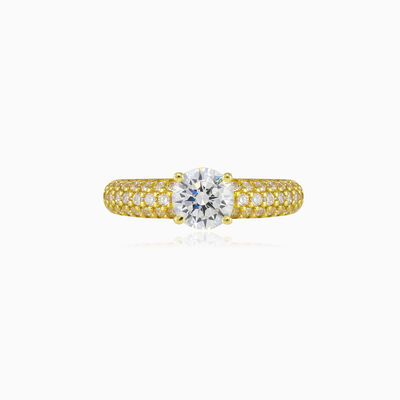 Accent pave gold ring woman Engagement rings Lustrous