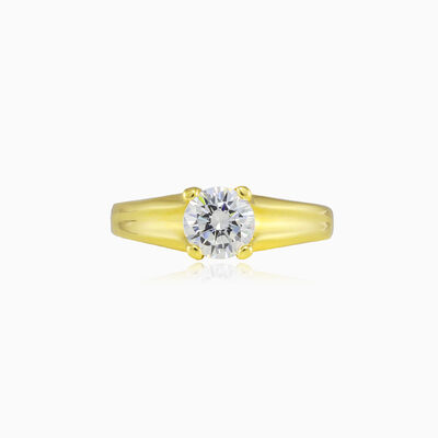 Carved crystal gold ring unisex Engagement rings