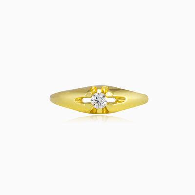 Thin levitating crystal gold ring unisex Engagement rings