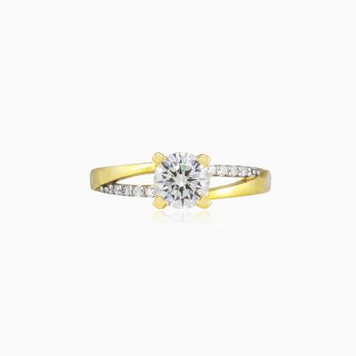 Кольцо с разделенными блестящими линиями Женские Помолвочные кольца Lustrous