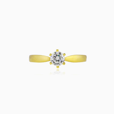 Thin six-prong solitaire gold ring woman engagement rings Lustrous