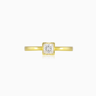 Princess crystal solitaire gold ring woman Engagement rings