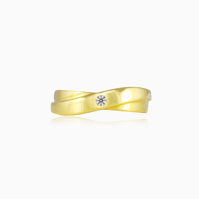 Twisted one crystal gold ring unisex Engagement rings