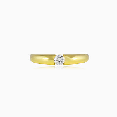 Round tension gold ring unisex Engagement rings Lustrous