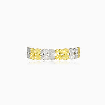 Shiny white and yellow band ring woman Wedding rings Lustrous