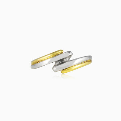 Twisted white and yellow gold ring woman Rings Lustrous