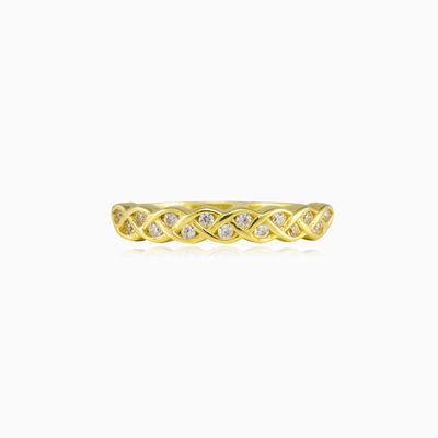 Braided gold crystal ring Женские Обручальные кольца Lustrous