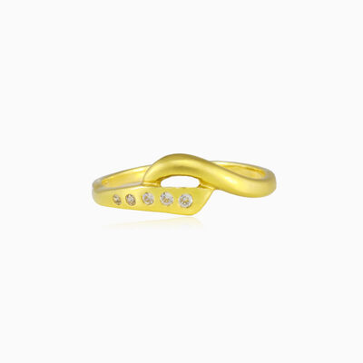 Mat and crystal gold ring woman Rings Lustrous