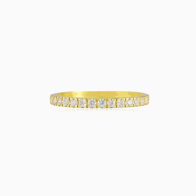 One crystal line gold ring unisex Обручальные кольца Lustrous