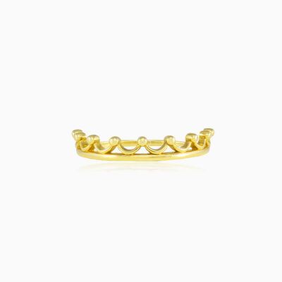Gold crown ring unisex Rings Lustrous