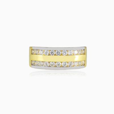 Double crystal broad gold band unisex Обручальные кольца Lustrous