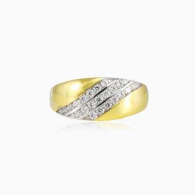 Three crystal lines broad gold ring woman Rings Lustrous