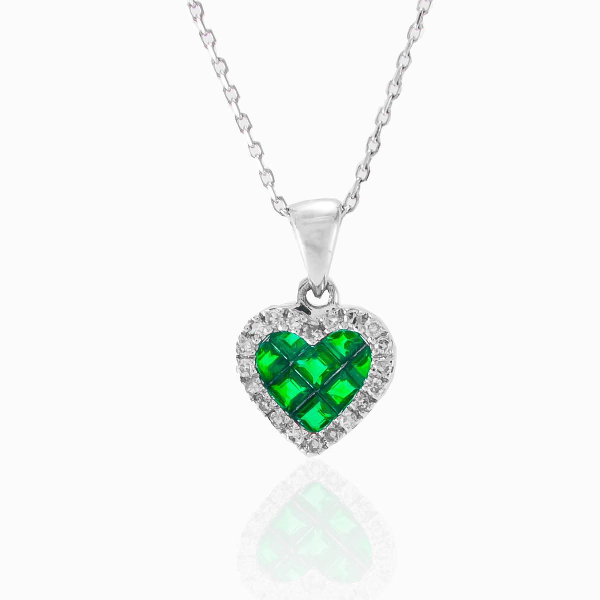 White gold pendant with diamonds and emeralds monte cristo emerald heart pendant aloadofball Images