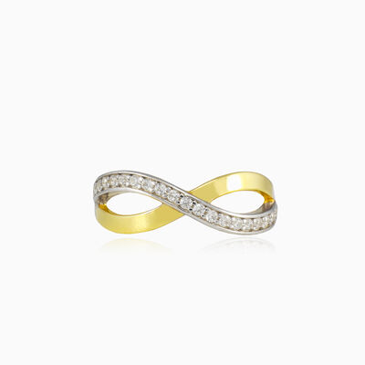 Infinity gold ring with one crystal row woman Rings Lustrous