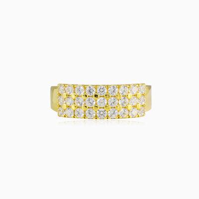 Three-row crystal gold band woman Wedding rings