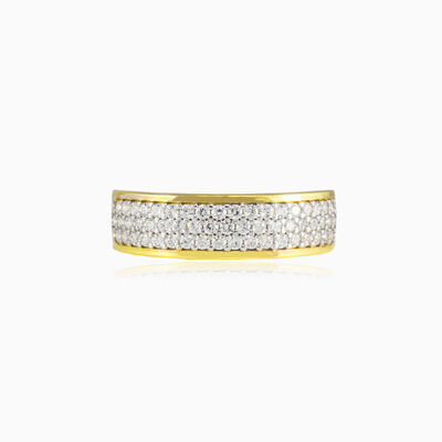 Three row embraced crystal gold band woman Wedding rings