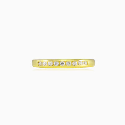 Thin channel-set crystal gold band woman Wedding rings