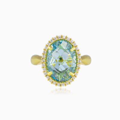 Massive oval blue topaz gold ring woman Engagement rings