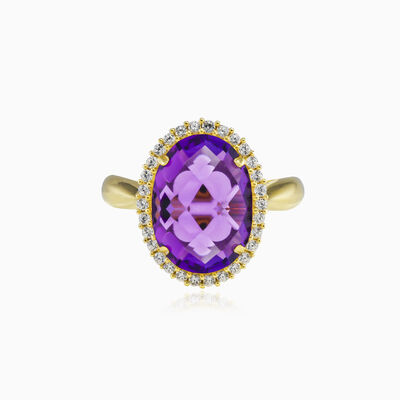 Massive oval amethyst gold ring woman Engagement rings Royal