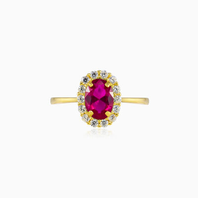 Oval rubellite halo gold ring woman Engagement rings Royal