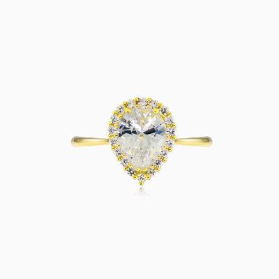 Pear-cut crystal yellow gold ring Женские Помолвочные кольца Royal