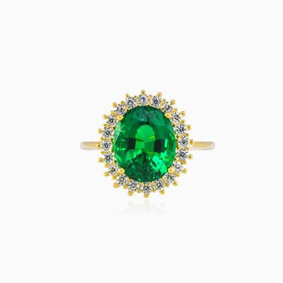 Royal oval green Quartz gold ring woman Rings Royal