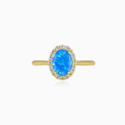 Oval halo blue opal gold ring Женские Помолвочные кольца Royal