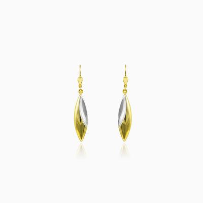 Dangling two-color shiny gold earrings woman Earrings Lustrous