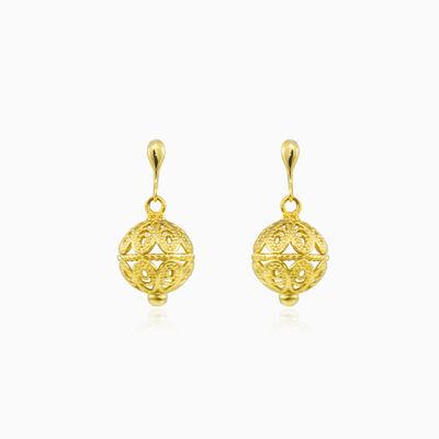 Filigree ball gold earrings woman Earrings Lustrous