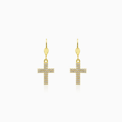 Gold cross and crystals earrings unisex Earrings