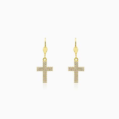Gold cross and crystals earrings unisex Серьги Santa Croce
