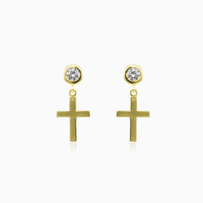 Cross and crystals gold earrings unisex Earrings