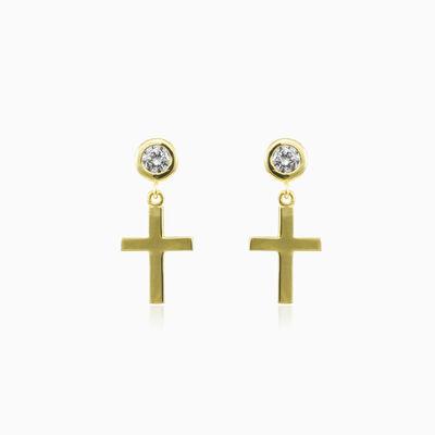 Cross and crystals gold earrings unisex Серьги Santa Croce