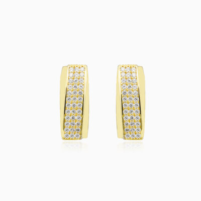 Three-row crystal gold earrings woman Earrings Lustrous