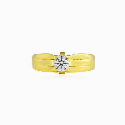 Bold gold and crystal ring unisex Rings Lustrous