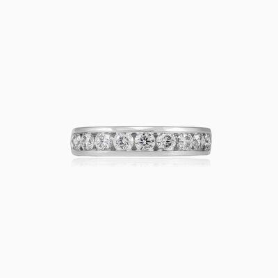 Channel-set diamond gold band unisex Обручальные кольца Lustrous
